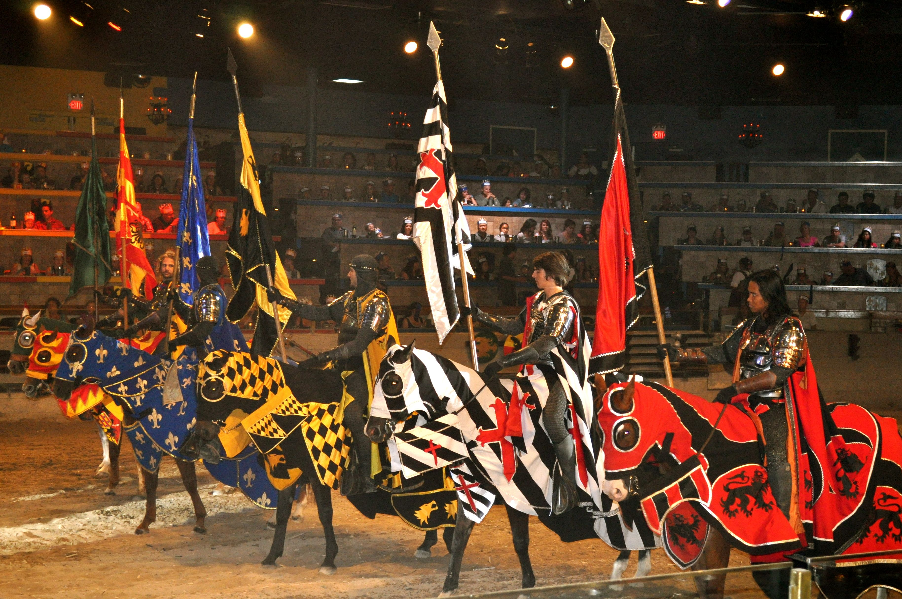 Medieval Times Dinner and Tournament is a family dinner theater featuring staged medieval-style games, sword-fighting, and jousting. Medieval Times Entertainment, the holding company, is headquartered in Irving, Texas.