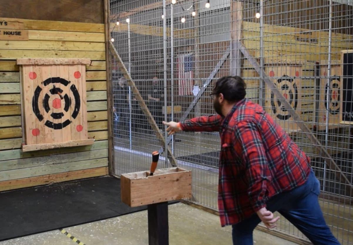 Tossing an axe at the bullseye at Stumpy's