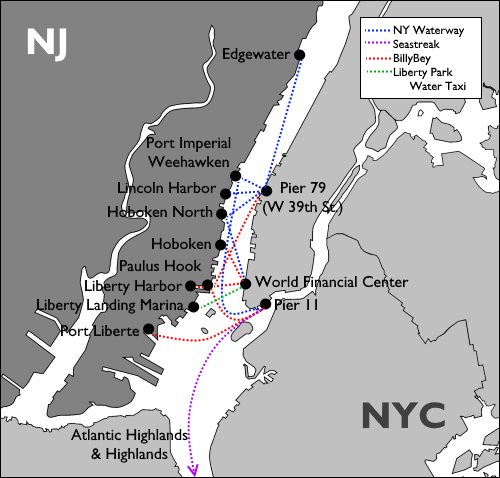Ferry to New York City Map