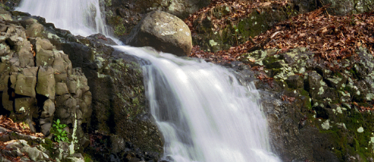 Close up of a beautiful rocky waterfall at the the South Mountain reservation in West Orange NJ. An amazing place to visit in North Jersey