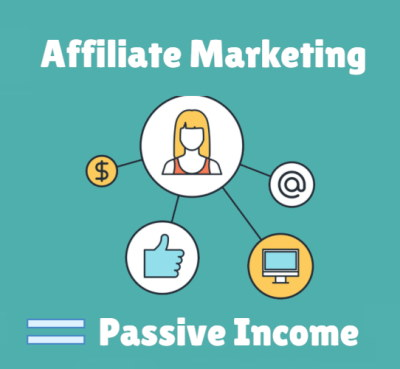 Image of an affiliate marketing icon showing how affiliate marketing is a good way to make passive income and real dgood overall money from home