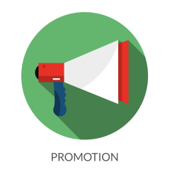 Image of a bullhorn with the word promotion underneath it detecting the idea that you need to start promoting your affiliate product