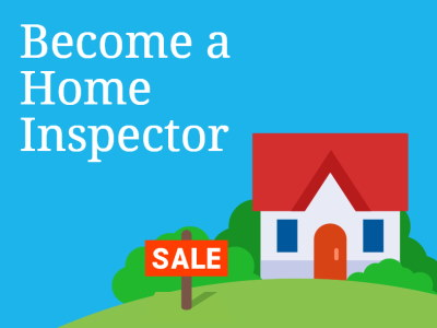 Inage of an icon of a home in the grass with the message become a home inspector