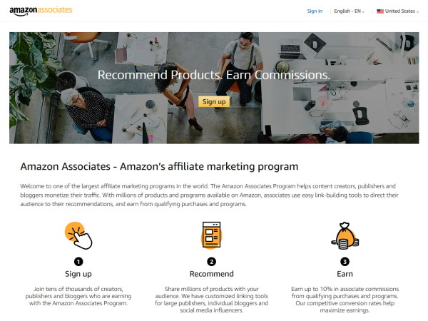 Screenshot of the Amazon Affiliates website. Amazon is the largest affiliate network in the world.
