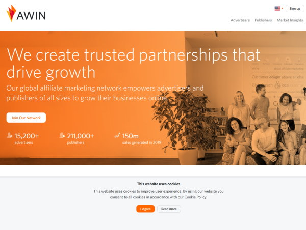 "Screenshot of the Awin affiliate network with a heading that says ""We create trusted partnerships that drive growth."""