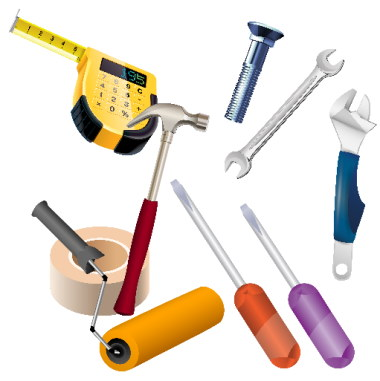 Image of some icons of handyman tools including tape measure, masking tape, hammer, a paint roller, wrenches and screwdrivers.