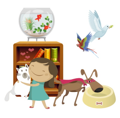 Image of a small brown dog eating out of a yellow dog bowl with a girl holding a white cat next to him. Behind the girl and the cat is a bookcase with a fishbowl integration side of it into the right of the fishbowl is a parakeet and a white bird flying in the house