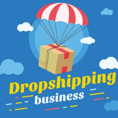 Image of a package in the air with a parachute holding it up with the words drop shipping business on