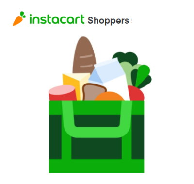 Image of the Instacart logo with an icon of a green grocery bag with groceries inside of it