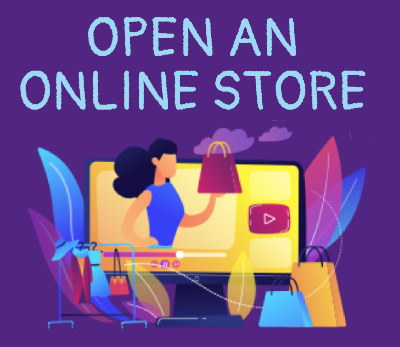 Cartoon image of a girl shopping with a caption that says open an online store