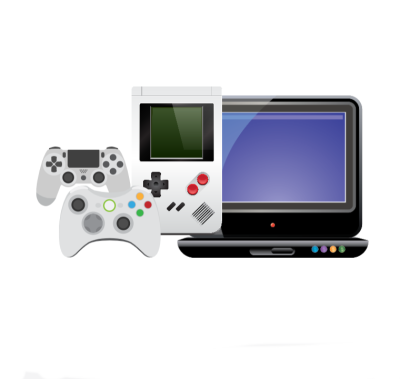 An image of a computer screen, gaming device into video controllers depicting that the technology market has great affiliate marketing niches to promote