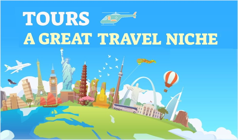 Cartoon image of the earth depicting major cities (the Eiffel Tower in Paris, the Statue of Liberty in New York and others) referencing that tours is a great niche within the travel market