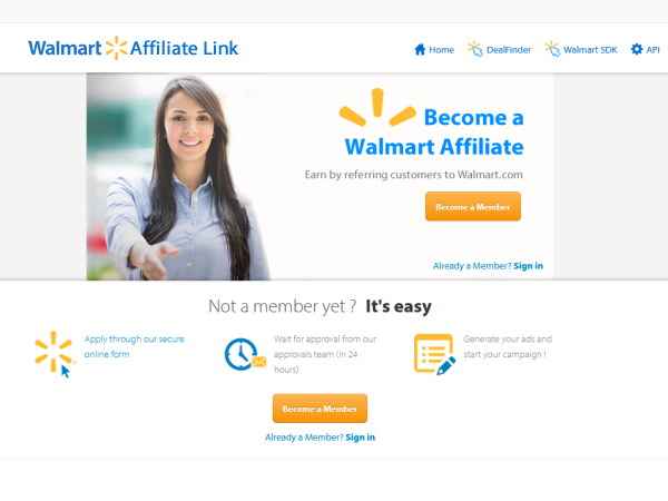 Image of the Walmart affiliate network sign-up page