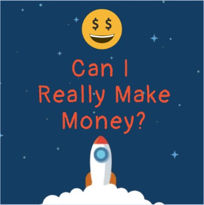Image of a moon with dollar signs as our eyes with a rocket getting ready to take off for the moon with a heading that says can I really make money at affiliate marketing