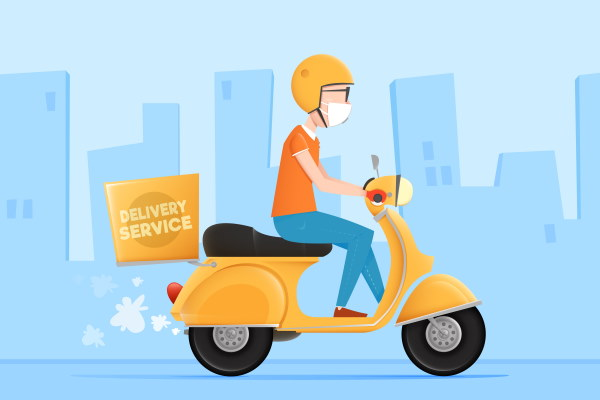 Cartoon image of a man on a scooter that has just started his own branded delivery service