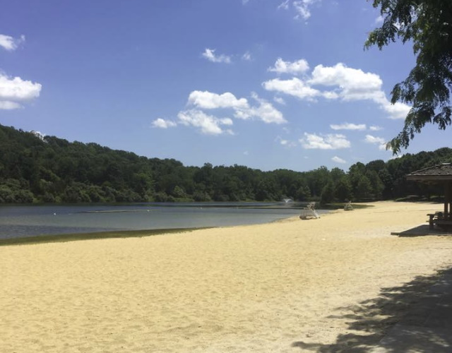 Photo of the beach area at Round Valley Reservoir in NJ